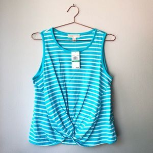 Michael Kors Turquoise Striped Sleeveless Top. NWT